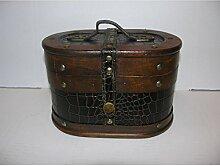 Nostalgischer ovaler Hutkoffer 23cm Holz Leder
