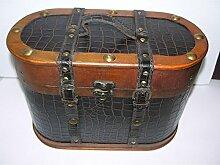 Nostalgischer ovaler Hutkoffer 35cm Holz