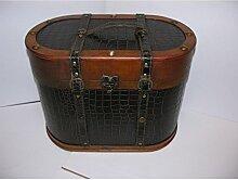 Nostalgischer ovaler Hutkoffer 40cm Holz