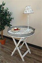 Nostalgischer Tablett-Tisch aus Holz mit Metallrand