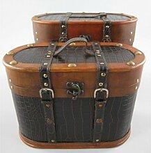 Nostalgisches ovales Hutkoffer-Set 40/35cm Holz