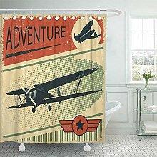 NotApplicable Badezimmer Duschvorhang Flugzeug