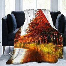 Not Applicable Unisex Throw Blankets,Autumn River