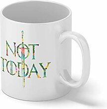 Not Today Arya Stark Flowers Weißer Becher Mug  