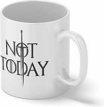 Not Today Arya Stark Weißer Becher Mug   Lustige