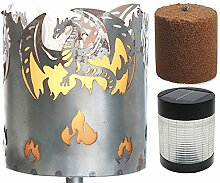 Novaliv Gartenfackel Drache Feuerschale Metall mit