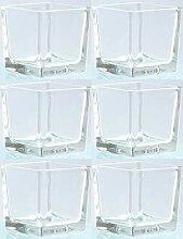 Novaliv Teelichtglas eckig 12cm Glastopf klar
