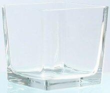 Novaliv Teelichtglas eckig 14cm Glastopf klar