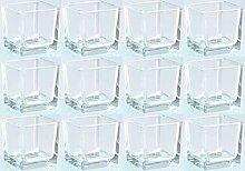 Novaliv Teelichtglas eckig 6cm Glastopf klar