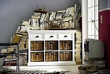 NovaSolo Buffet mit 6 Körben, Holz, Weiß, 125 x