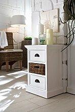 NovaSolo Nachttisch mit Korb, Holz, Weiß, 40 x 30