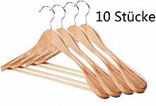 Noveste 10 Braun Kleiderbügel aus Holz für Garderobe, 360 Grad drehbar, mit Rockkerben und Hosensteg