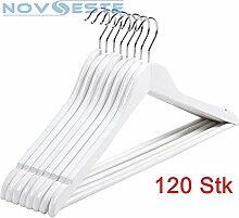 NOVESTE 120 Set Weiß Kleiderbügel aus Holz für Garderobe, 360 Grad drehbar, mit Rockkerben und Hosensteg