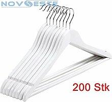 Noveste 200 Set Weiß Kleiderbügel aus Holz für Garderobe, 360 Grad drehbar, mit Rockkerben und Hosensteg