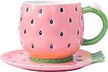 Noviko Kleine Keramiktasse mit Untertasse, 266 ml,