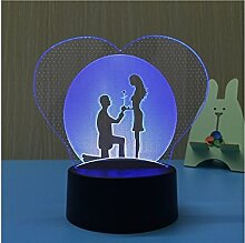 NqceKsrdfzn 3D Herz Illusion Lampe LED 7 Farbe