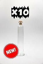nr 10 Glasflaschen Cilindro 200 ml aus weißem