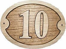 Nr. 10Oval Eiche natur Holz House Tür Zahl