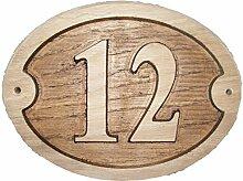 Nr. 12Oval Eiche natur Holz House Tür Zahl