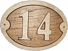 Nr. 14oval Eiche natur Holz House Tür Zahl