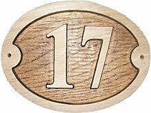 Nr. 17Oval Eiche natur Holz House Tür Zahl