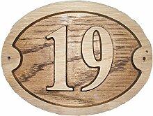 Nr. 19Eiche natur oval Holz House Tür Zahl