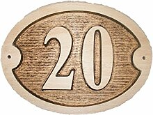 Nr. 20Oval Eiche natur Holz House Tür Zahl