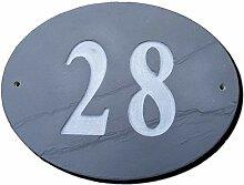 Nr. 28oval natur grau Slate Haus Tür Nummer