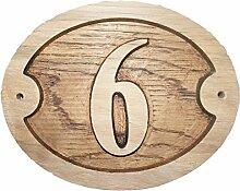 Nr. 6Oval Eiche natur Holz House Tür Zahl