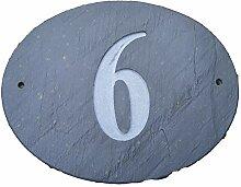Nr. 6Oval Natur Grau Slate Haus Tür Nummer