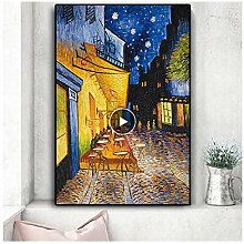 nr Berühmte Cafe Terrasse bei Nacht Gemälde auf