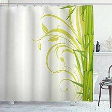 NR Duschvorhang,Bambus mit floralen lockigen