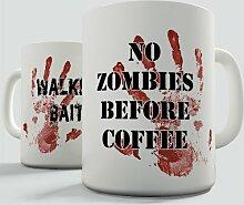 Nr. Zombies vor Tasse Kaffee Becher Keramiktasse