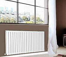 nrg-radiator 600x 1428mm Horizontal Flat Panel Designer Badezimmer Zentralheizung Heizkörper glänzend weiss doppelt Spalte–Ideal für Badezimmer, Schlafzimmer, Küche, Flur, Wohnzimmer