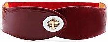 NSSS*Frau Frühling und Sommer lackiert Leder leder jacke Gummizug Riemenspannung weibliche wilde Dekoration weite Röcke Mäntel rot Fett, 71 cm Gold,