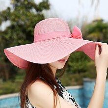 nsxbzz *Cap Kinder Sommer faltbar Markisen große Sun Beach Resort Visor outdoor Sonnenschutz UV-Strohhut Code ist Rosa
