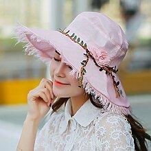 nsxbzz *Frau Sommer großen entlang der Sonnenschutz gap Kinder faltbar Hüte weibliche outdoor Visor Code ist Rosa