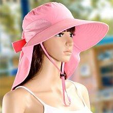 nsxbzz *Hüte weibliche Sommer Sonne Hüte Sonnenschutz faltbar Sonnenschirm Sonnenschutz gap Outdoor Freizeitaktivitäten Strand Kappen Code sind reine Farbe - Rosa