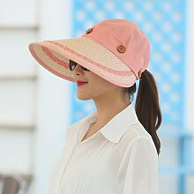 nsxbzz *Sonnenschirm Sommer hat große entlang der Sonnenschutz UV-weiblichen Radfahren schwarzen Gesicht gefalteten Blank Top outdoor solar Strand CAP (einstellbar) Rosa