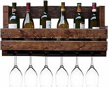 NSYNSY Weinregal Wandhalterung Holz Weinflasche