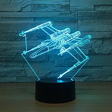 NSYW 3D Illusion Lampe 7 Farbe Flugzeug Led 3D
