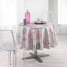 Nuances du Monde Brillant Heritage Rose P bedruckt, Tischdecke, Polyester, Pink, 180x 180cm