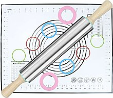 Nudelholz und Silikon-Backmatten-Set,