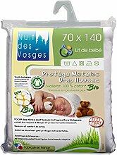 Nuit des Vosges 230142Matratzenschoner, Molton, Bio für Babybett Baumwolle weiß 70x 140cm
