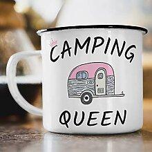 Nukular Emaille Tasse Camping Queen Toller Becher