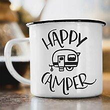 Nukular Emaille Tasse Happy Camper Toller Becher