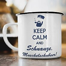 Nukular Emaille Tasse Keep Calm and Schnauze,