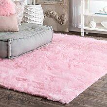 nuLOOM Zottelteppich für Kinder, 91 x 152 cm, Pink