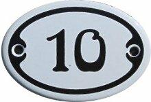 Nummer 10 mini Emaille Schild Jugendstil ca. 4,2 x