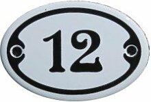 Nummer 12 mini Emaille Schild Jugendstil ca. 4,2 x